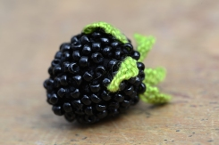 Another test piece by Louise, a life-size blackberry made in stumpwork.