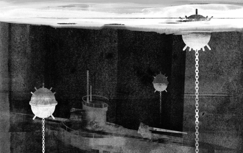 Anti-shipping mines with U-boat