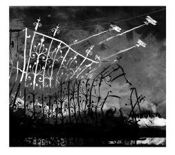 I'm fond of this image now, the gate was painted freehand in japanese sumi ink with a large brush, with texture digitally placed over it for highlights.