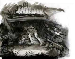 Concept sketch, fallen soldier